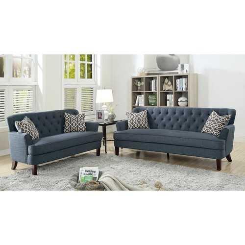 Velveteen 2 Pieces Sofa Set With Accent Pillows Dark Blue